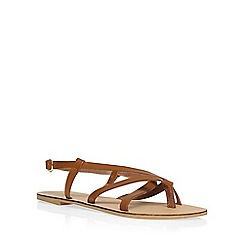 Dorothy Perkins - Leather tan 'spangle' sandals
