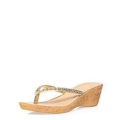 Dorothy Perkins - Gold venti gem wedges