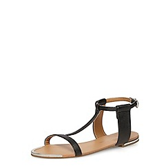 Dorothy Perkins - Black flat minimal t-bar sandals