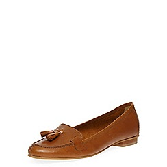 Dorothy Perkins - Tan leather tassel loafer