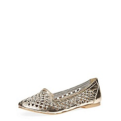 Dorothy Perkins - Gold leather weave loafers