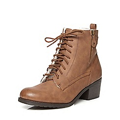 Dorothy Perkins - Chocolate 'believe' laced boots