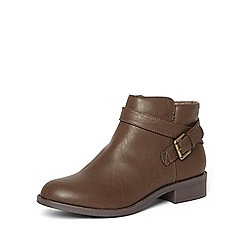 Dorothy Perkins - Chocolate 'madia' buckle boots