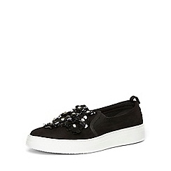 Dorothy Perkins - Black 'clare' flower trainers