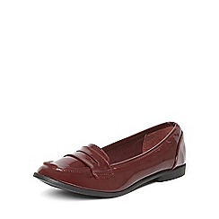 Dorothy Perkins - Burgundy patenty lily loafers