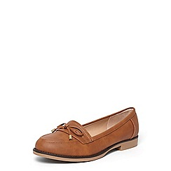 Dorothy Perkins - Tan 'Leonia' metal bow loafers
