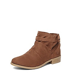 Dorothy Perkins - Brown 'Mackenzie' ruched ankle boots