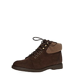 Dorothy Perkins - Chocolate lace-up ankle boots with a knitted trim