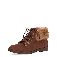 Dorothy Perkins - Chocolate lace-up ankle boots with a faux fur trim