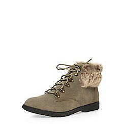 Dorothy Perkins - Grey 'bonnie' fur collar boots