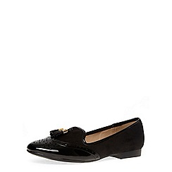 Dorothy Perkins - Black leather look and suedette mix tassel flat loafers