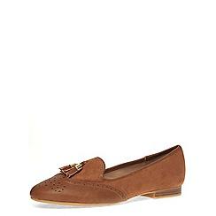 Dorothy Perkins - Tan tassle suedette loafers