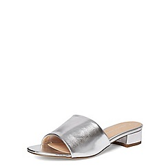 Dorothy Perkins - Silver 'foster' heeled mules