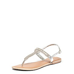 Dorothy Perkins - Leather silver flissie toepost sandals