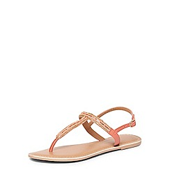 Dorothy Perkins - Leather coral flissie toepost sandals