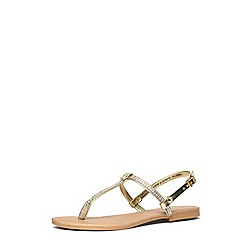 Dorothy Perkins - Gold embellished t-bar sandals