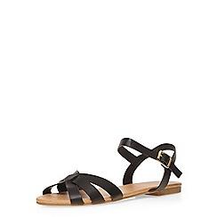 Dorothy Perkins - Black 'shine' 2 part sandals