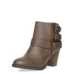 Dorothy Perkins - Taupe leather look heeled boots