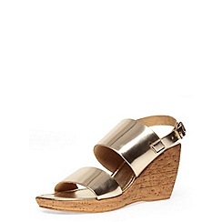 Dorothy Perkins - Gold two part strap wedges