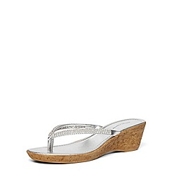 Dorothy Perkins - Silver gem wedge strap sandals