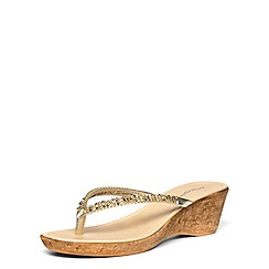Dorothy Perkins - Gold gem wedge strap sandals