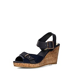 Dorothy Perkins - Navy buckle wedge sandals