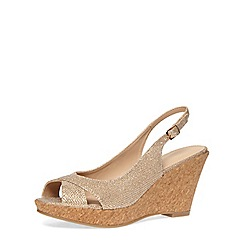 Dorothy Perkins - Gold slingback cork wedges