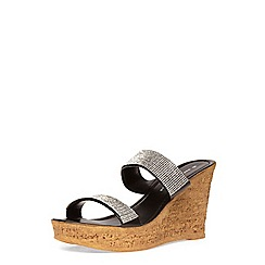 Dorothy Perkins - Black double bling wedges