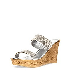Dorothy Perkins - Silver double bling wedges