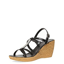 Dorothy Perkins - Black diamante bar cork wedge sandals