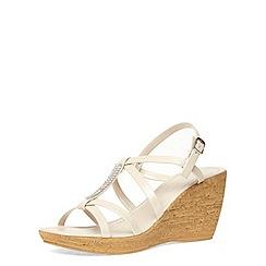 Dorothy Perkins - Gold diamante bar cork wedge sandals