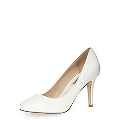 Dorothy Perkins - White almond toe mid heel court shoes