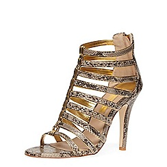 Dorothy Perkins - Snake print caged leather look heeled sandals