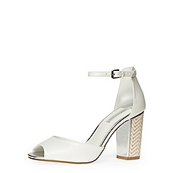 Dorothy Perkins - White high open peep toe court shoes