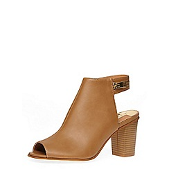 Dorothy Perkins - Tan peep toe block heel zip shoe boots