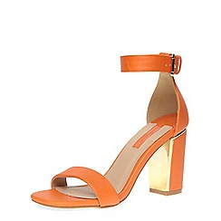 Dorothy Perkins - Orange block ankle strap block metal heel sandals