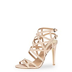 Dorothy Perkins - Nude suedette caged strappy high sandals with embellishment