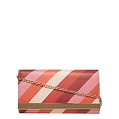 Dorothy Perkins - Pink stripe clutch bag