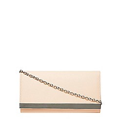 Dorothy Perkins - Nude clutch bag with metal trim and chain strap