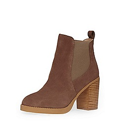 Dorothy Perkins - Taupe leather heeled chelsea boots