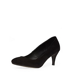 Dorothy Perkins - Black suedette round toe mid height court shoes
