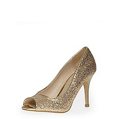 Dorothy Perkins - Gold glitter peep toe court shoes