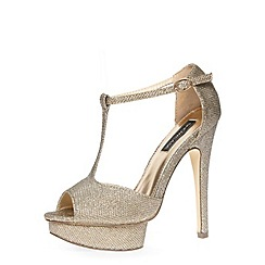 Dorothy Perkins - Gold glitter t-bar high sandals