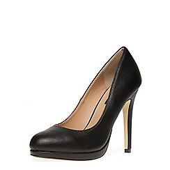 Dorothy Perkins - Black crosshatch platform court shoes