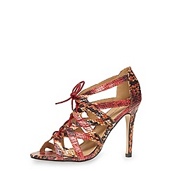 Dorothy Perkins - Pink snake print lace up high heel sandals