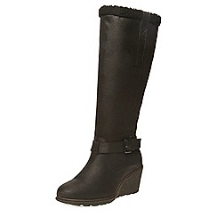 Dorothy Perkins - Black tinks leather look faux sheep lined knee high boot