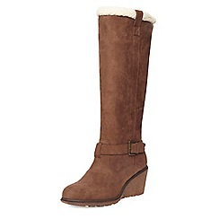 Dorothy Perkins - Chocolate tinks leather look faux sheep lined knee high boot