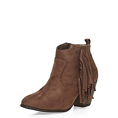 Dorothy Perkins - Taupe 'matte' fringed boots