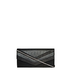 Dorothy Perkins - Black panel structured clutch bag
