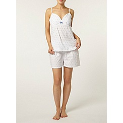 Dorothy Perkins - Cream/blue swiss dot camisole